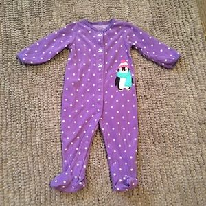 🆕LISTING- Carter's Purple Penguin Fleece Footie